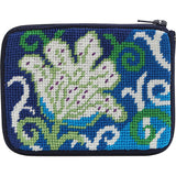 Alice petersons company, stitch and zip coin purse, beginner needlepoint coin purse kit,  white tulip pattern