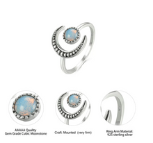 Load image into Gallery viewer, Opal Moonstone Sterling Silver Ring
