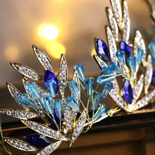Load image into Gallery viewer, Magical Blue Leaf Rhinestone Crown