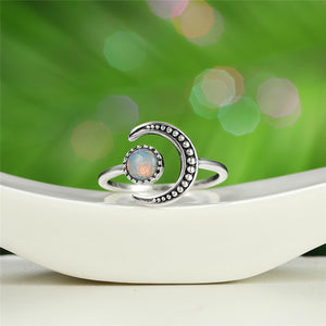 Opal Moonstone Sterling Silver Ring