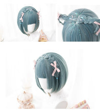 Load image into Gallery viewer, Cosplay Green & Blue Bob Wig