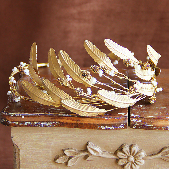 Golden Leaf Pine Cone Tiara