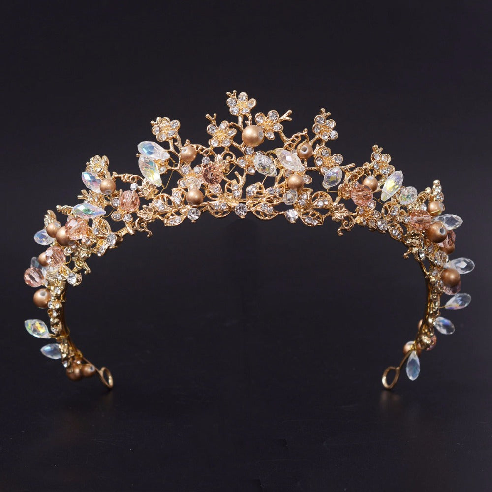 Wholesome Golden Floral Tiara