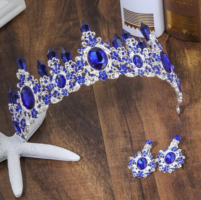 Glorious Deep Blue Crystal Crown