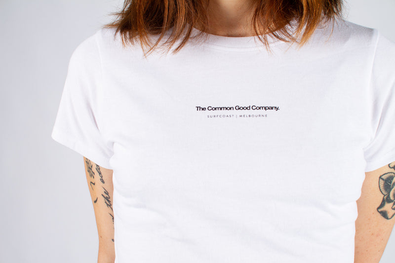 JANE DOE T-SHIRT - WHITE SURFCOAST|MELB LOGO