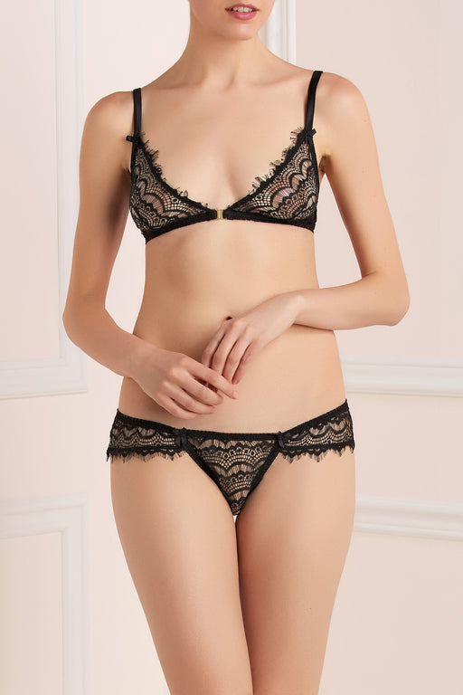 Mimi Holliday Bisou pearl lace black soft bra workingirls lingerie