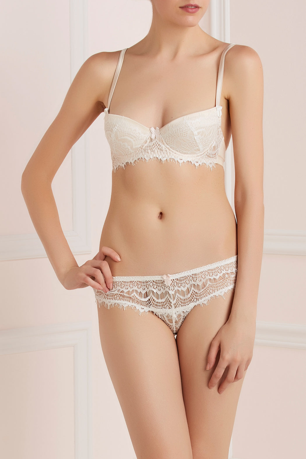 Mimi Holliday white lace bisou frost boyshort workingirls lingerie