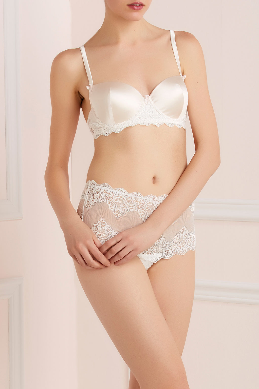Mr Whippy white silk and lace padded bra by Mimi Holliday workingirls lingerie