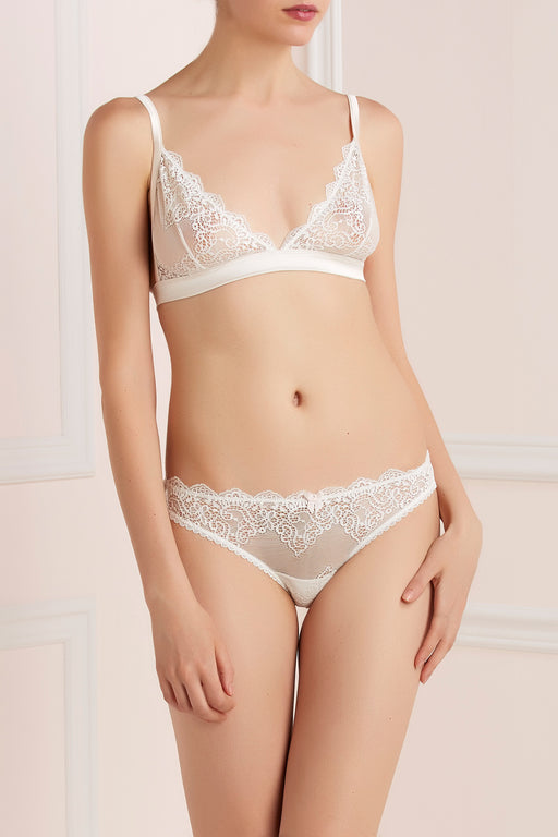 Mr Whippy soft cup white silk and lace bra by Mimi Holliday workingirls lingerie
