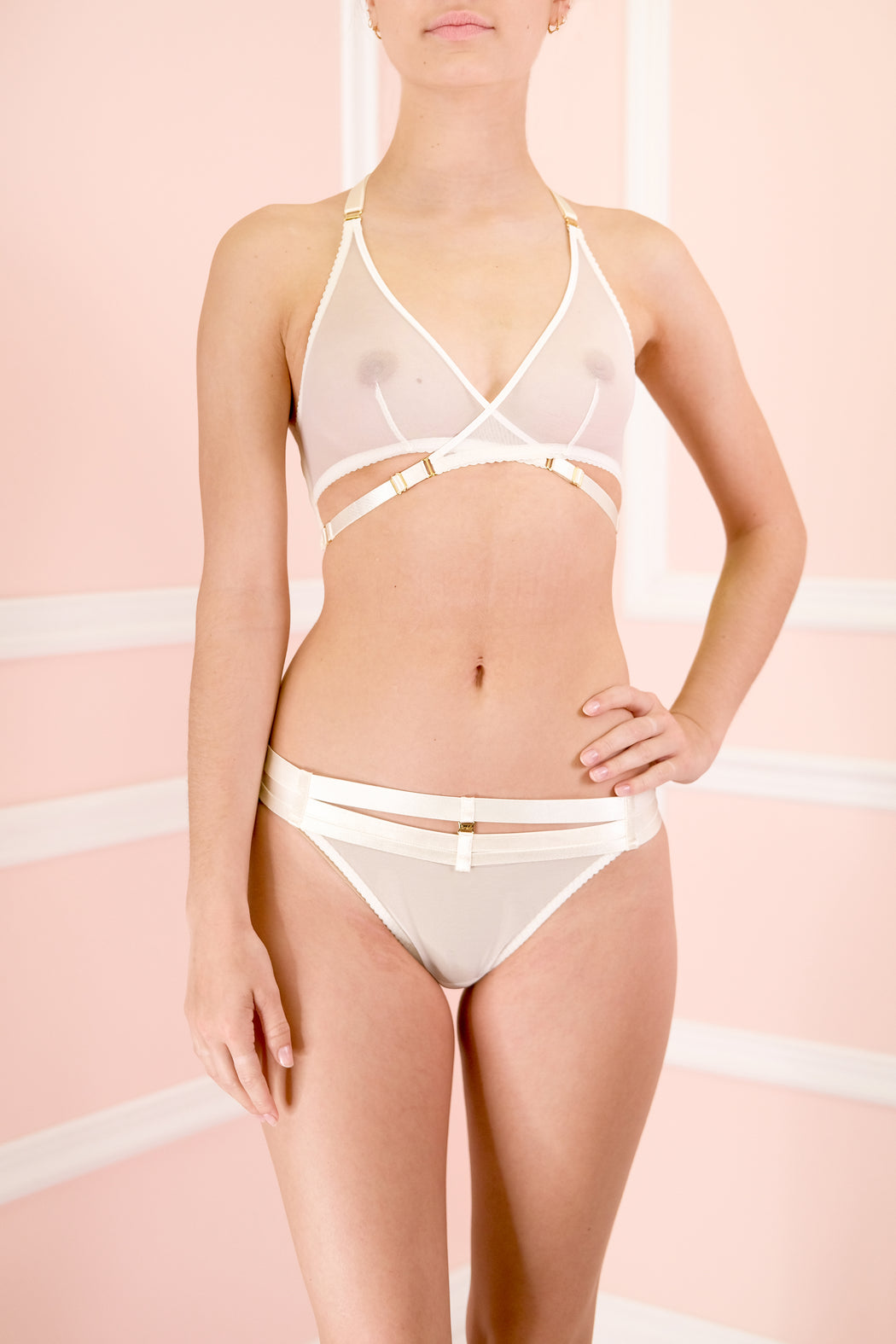 Art Deco Mesh Cream Wrap Bra by Bordelle