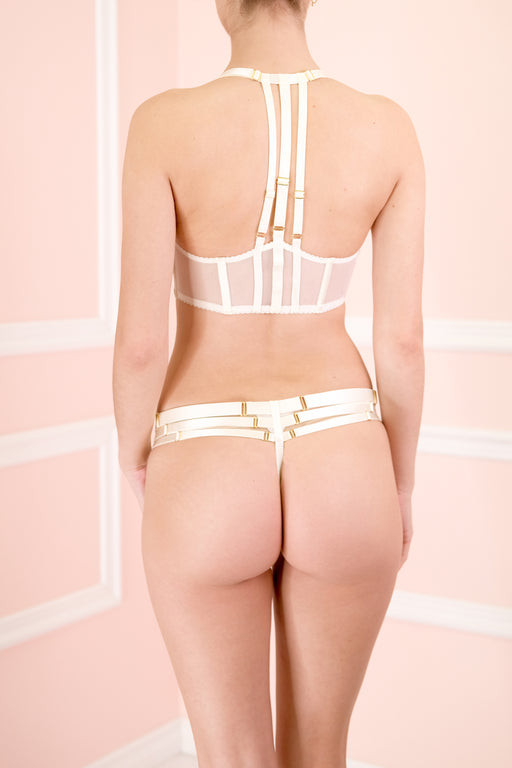 Workingirls Lingerie | Art Deco Multi-Strap Cream Thong by Bordelle