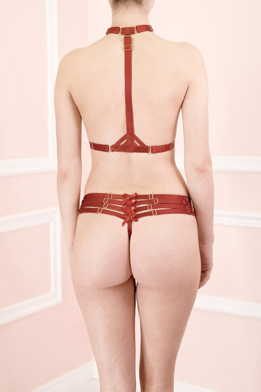 Workingirls Lingerie | Adjustable Webbed Red Thong by Bordelle