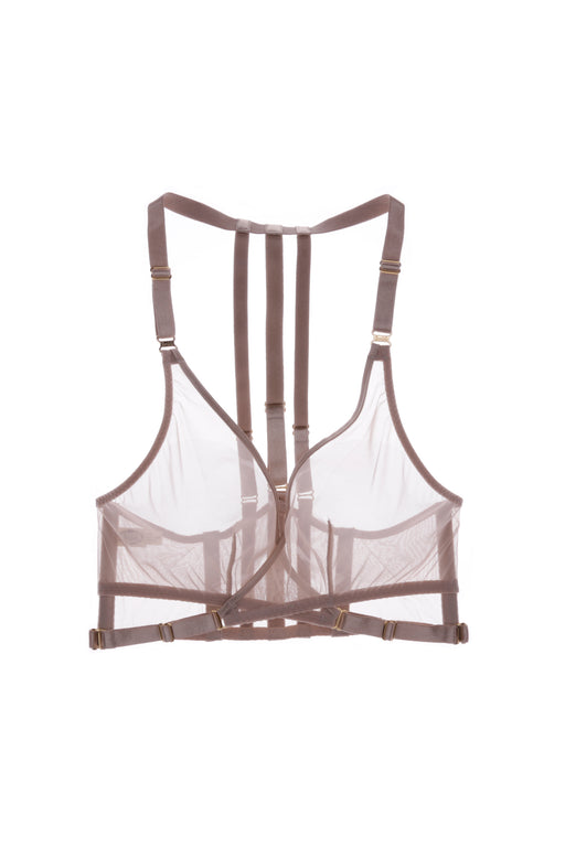 Art Deco Mesh Caramel Wrap Bra by Bordelle