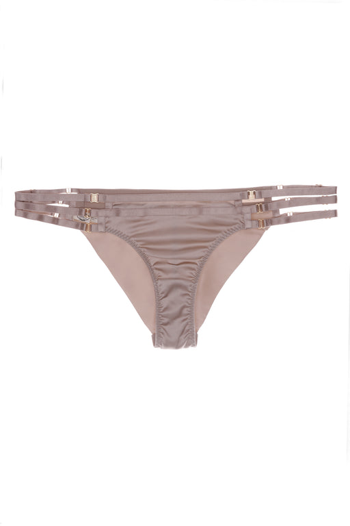 Art Deco Satin Brazilian Caramel Brief by Bordelle