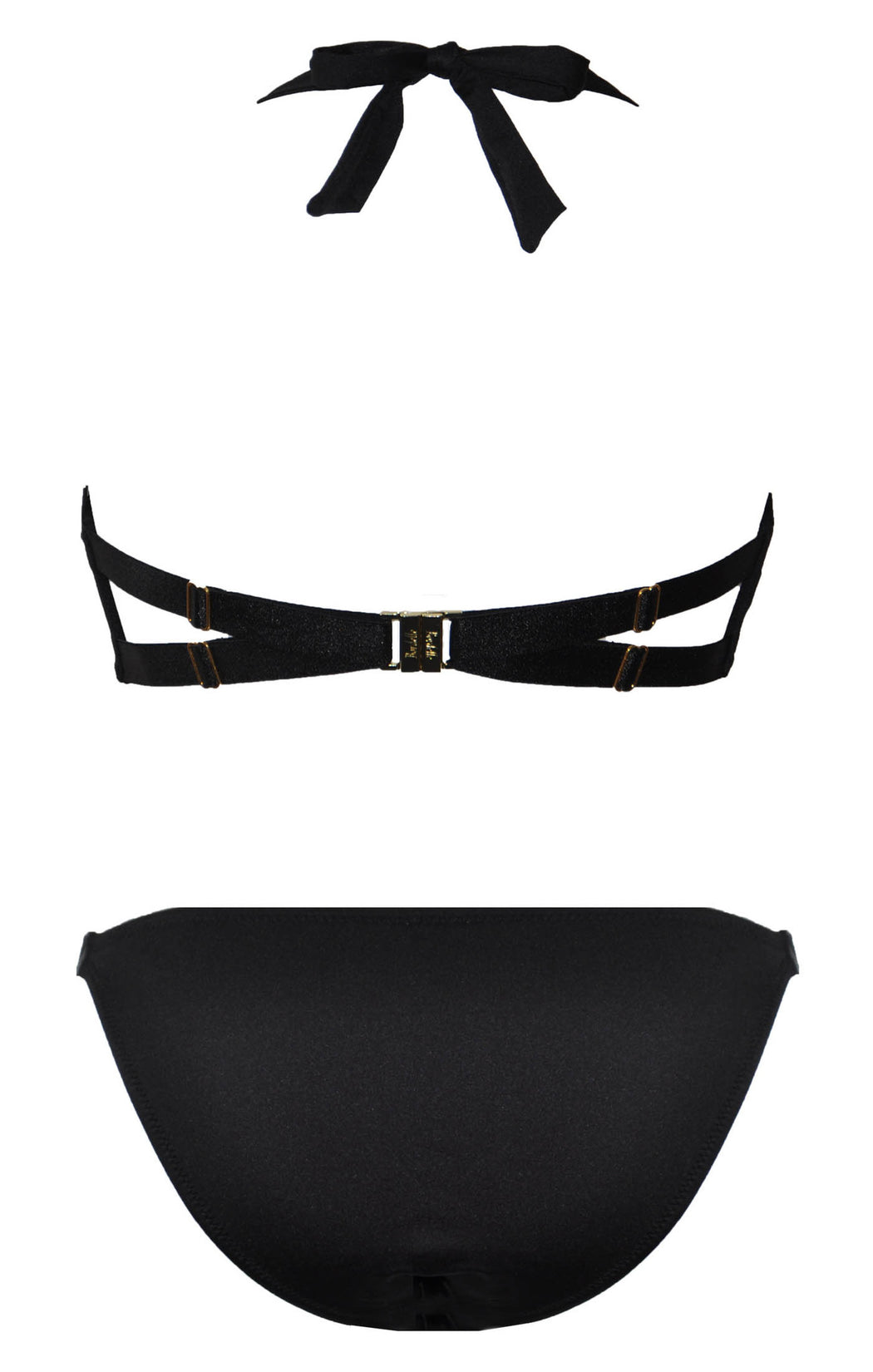Sofia bikini by Bordelle Gold, black and convertible straps