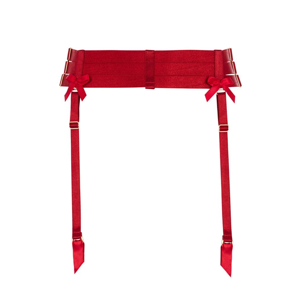 Strap Suspender Belt Burnt Red by Bordelle