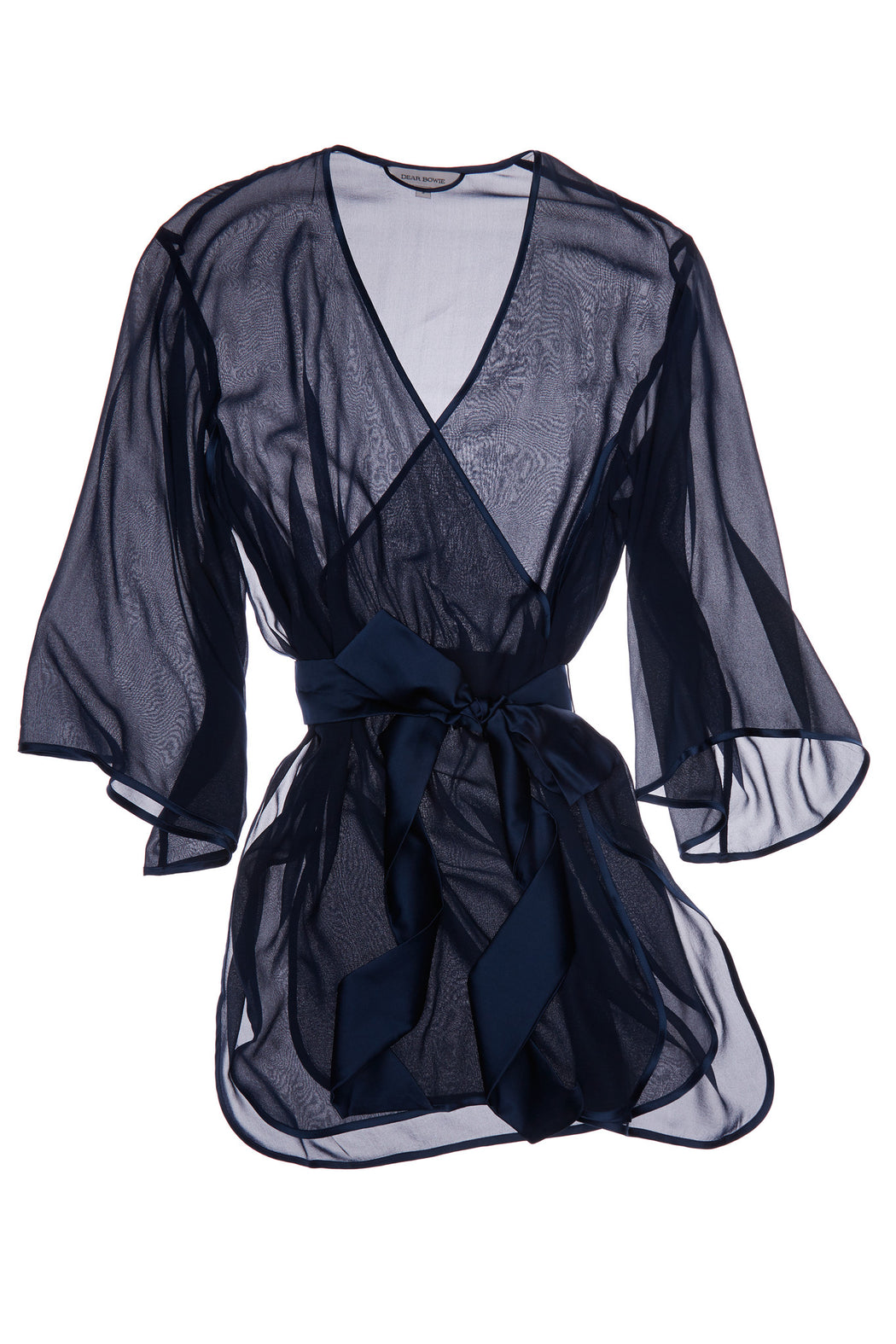 Kimono Riley Navy Sheer Dear Bowie Workingirls luxury lingerie