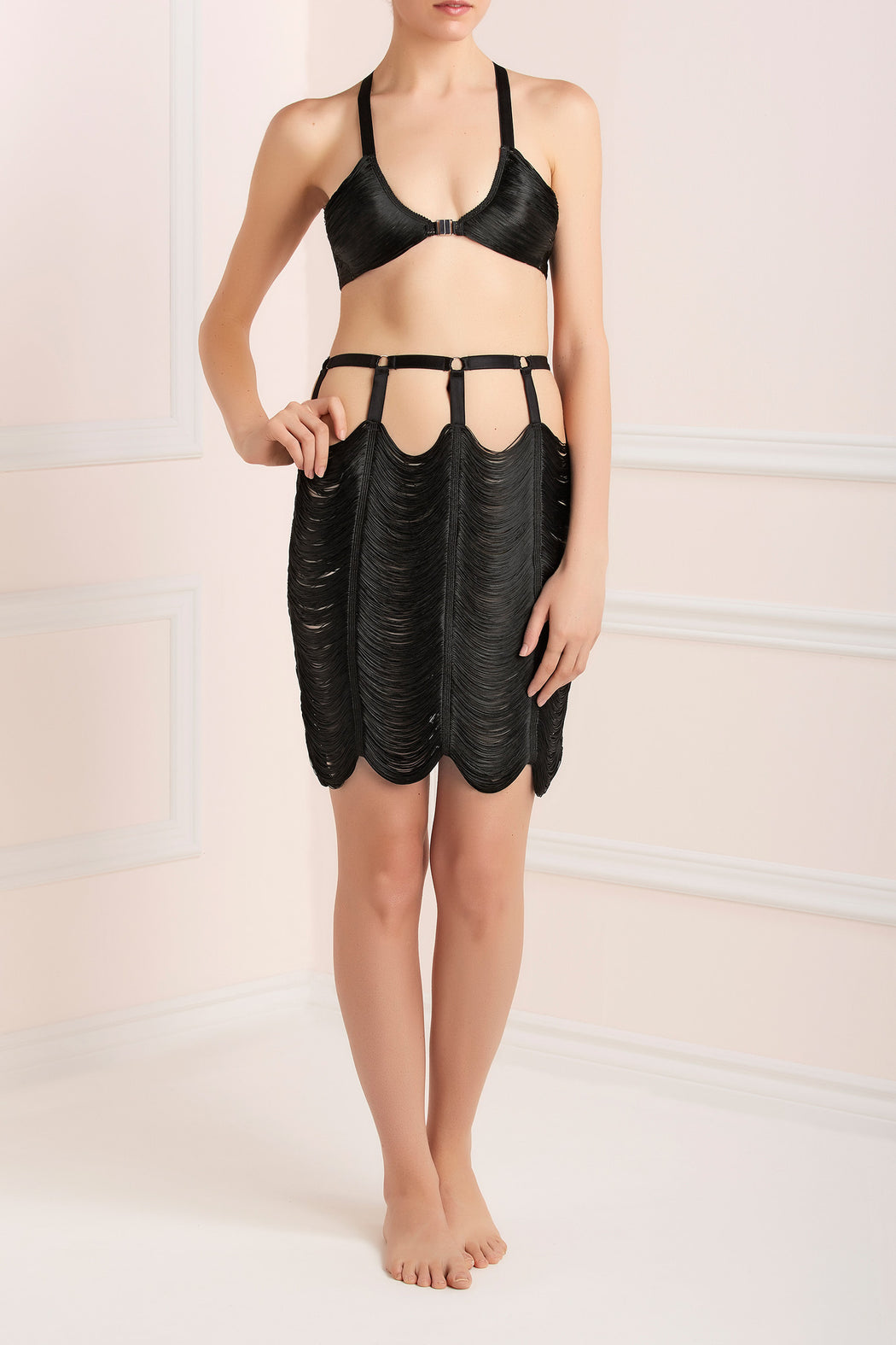 Black Strings Skirt Made By Niki Workingirls luxury lingerie