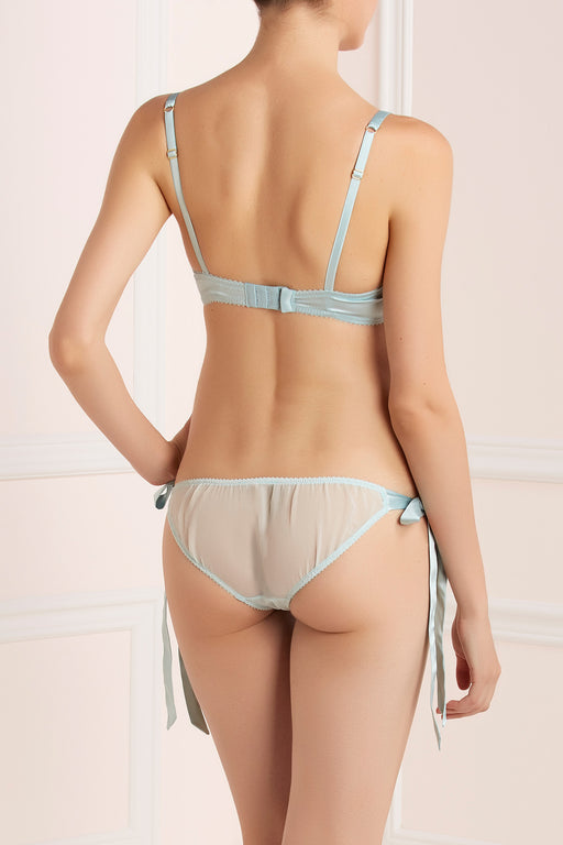 Rosetti Gardens silk and lace blue tie side knicker by Lucile workingirls lingerie