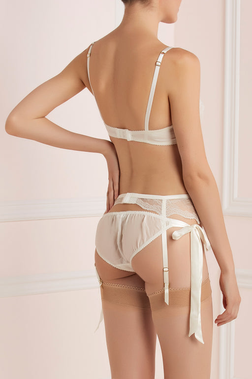 Ivory tie side knicker by Lucile bridal workingirls lingerie