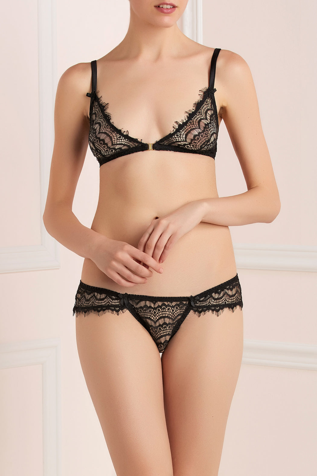 Mimi Holliday Bisou pearl lace black boyshort workingirls lingerie