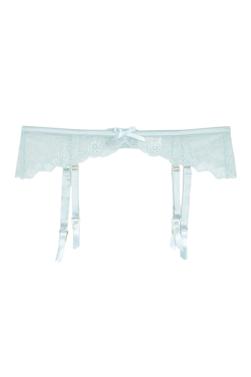 Rosetti Gardens silk and lace blue suspender belt by Lucile workingirls lingerie