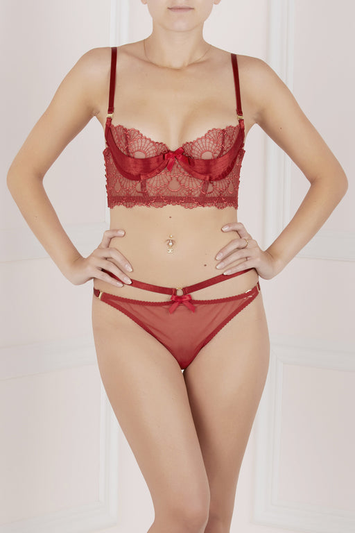 Red Sensu Panelled Bra by Bordelle workingirls luxury lingerie