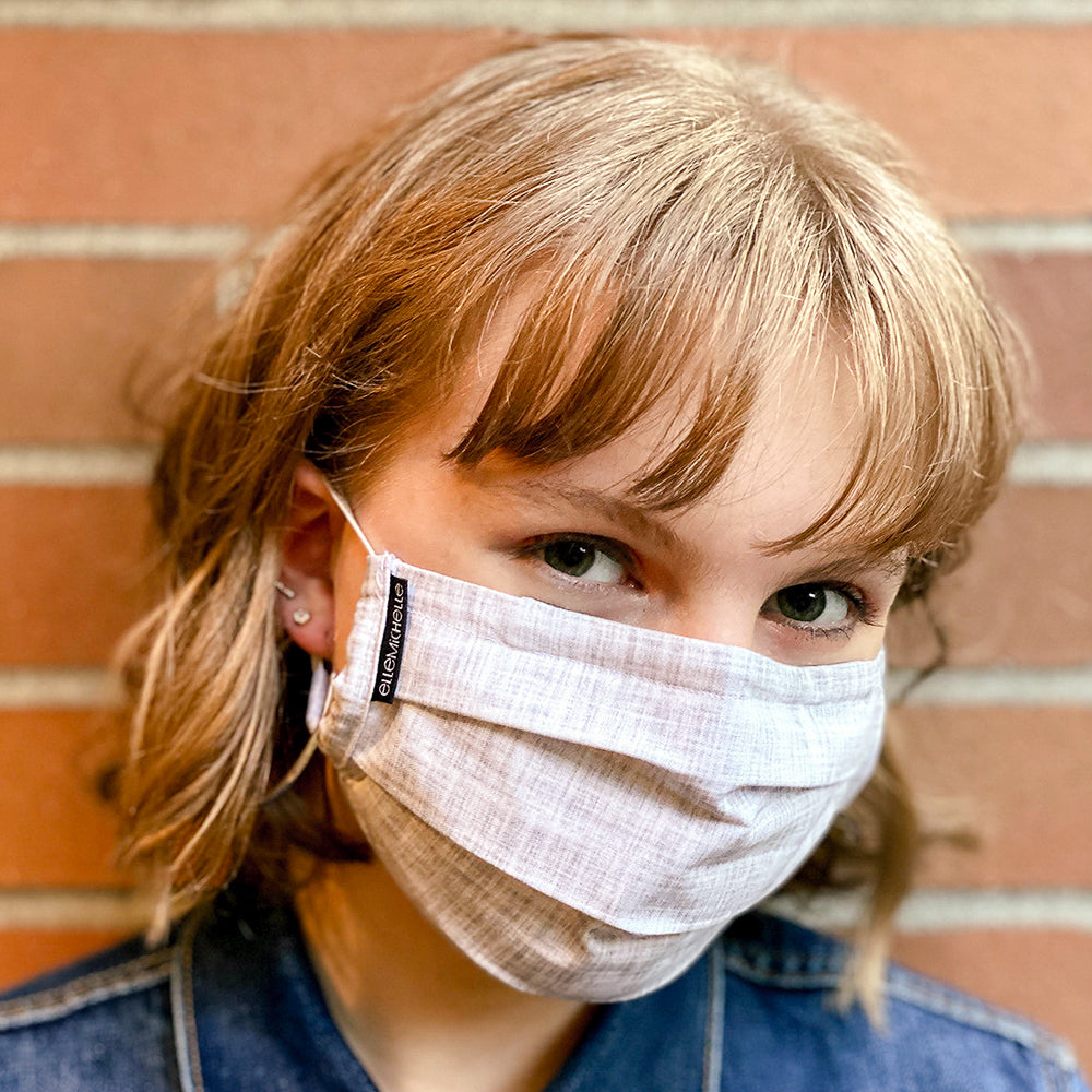 3 Layer Pleated Fabric Face Mask in Cloud Gray