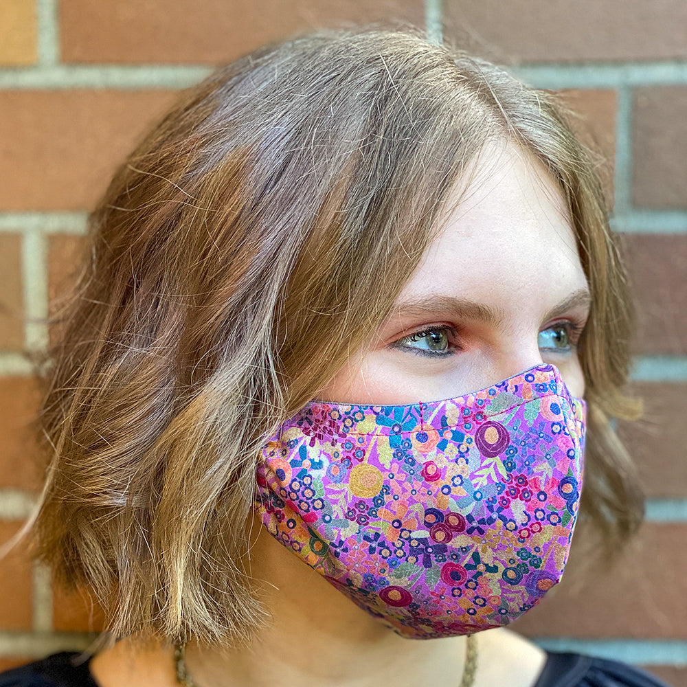Fabric Face MasK in Pink Wildflowers Print
