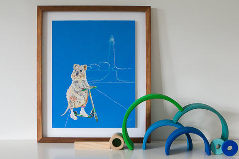 A Quokka artwork by Good Art Australia. Painting framed and sitting on a shelf with kids toys.