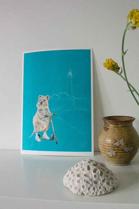 Rottnest Island Quokka art print. Styled with coral, vase and Australian wildflowers.