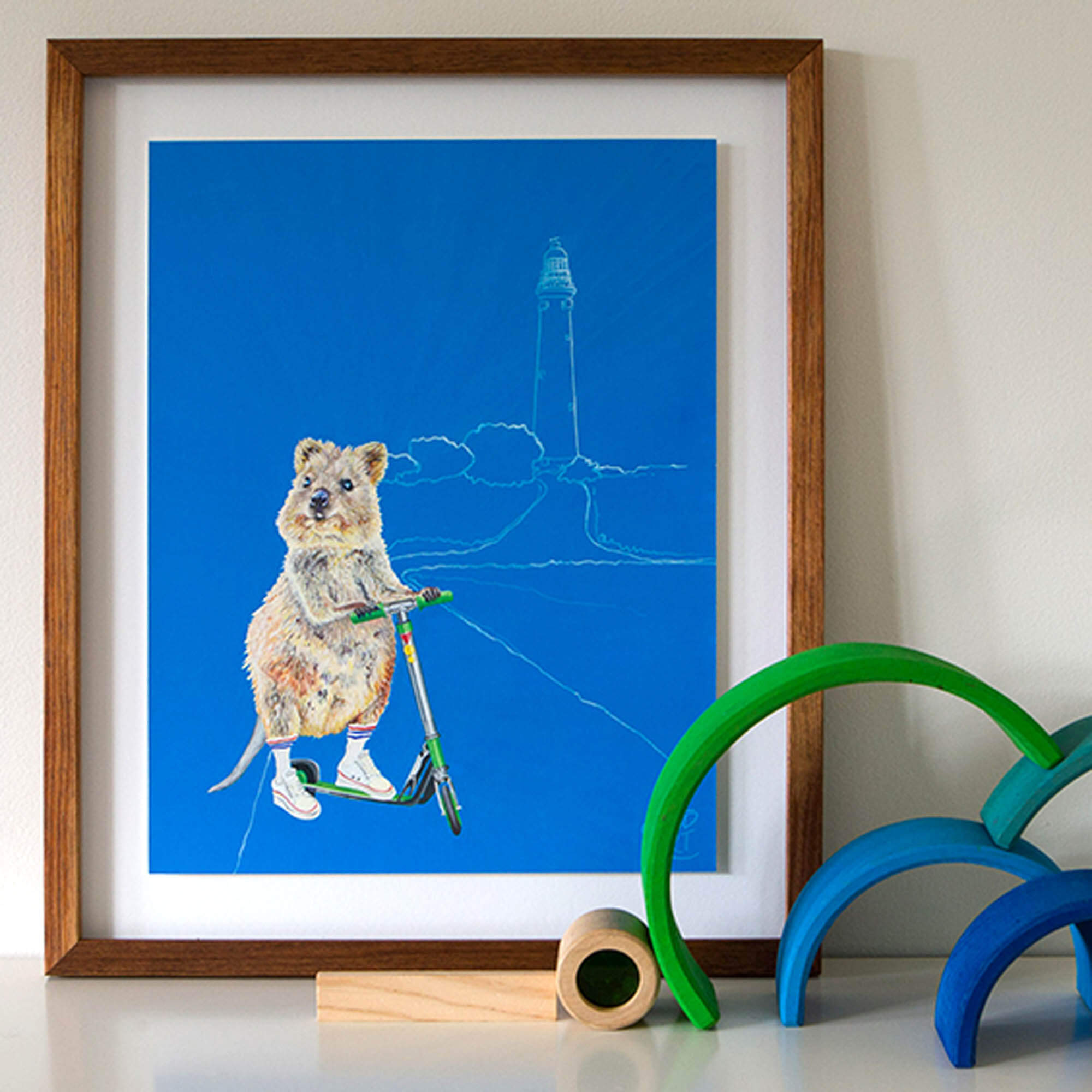 Artwork on shelf with Grimms rainbow, featuring Rottnest Island Quokka print, Bakery Run.