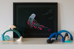 An artwork of a Box Jellyfish wearing boxing gloves with a somber face and black eye. Another jellyfish is swimming out of the composition. Black background. Wall Art for boys bedroom Painted by artist Jaelle Pedroli.