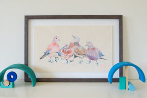 An artwork of Laughing and Spotted Australian backyard Doves. Four birds in total wearing Run DMC adidas sneakers. The bird print for kids sits on shelf in a childrens bedroom. Painted by artist Jaelle Pedroli.