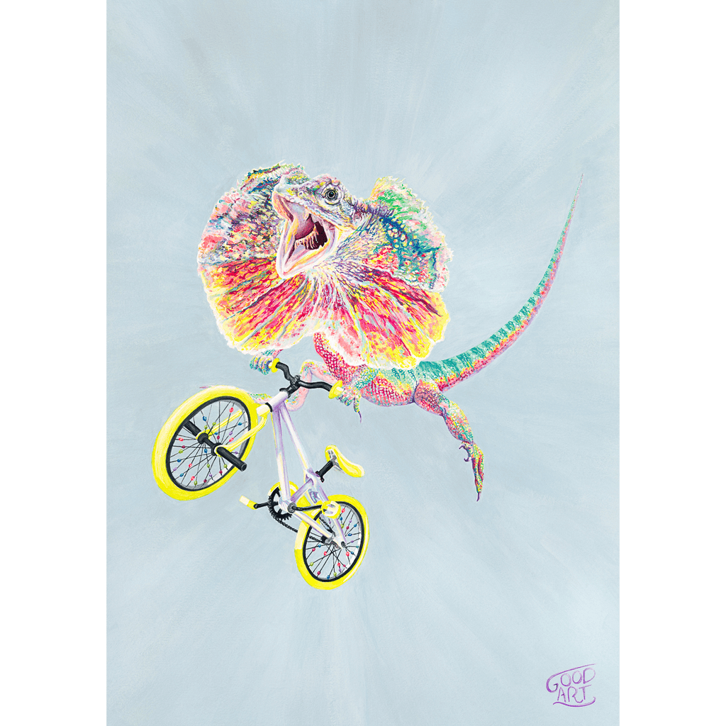Colourful artwork of an Australian frilled neck lizard riding a bmx bike flying over a jump. predominately light blue background. Prints by Good Art created for kids.