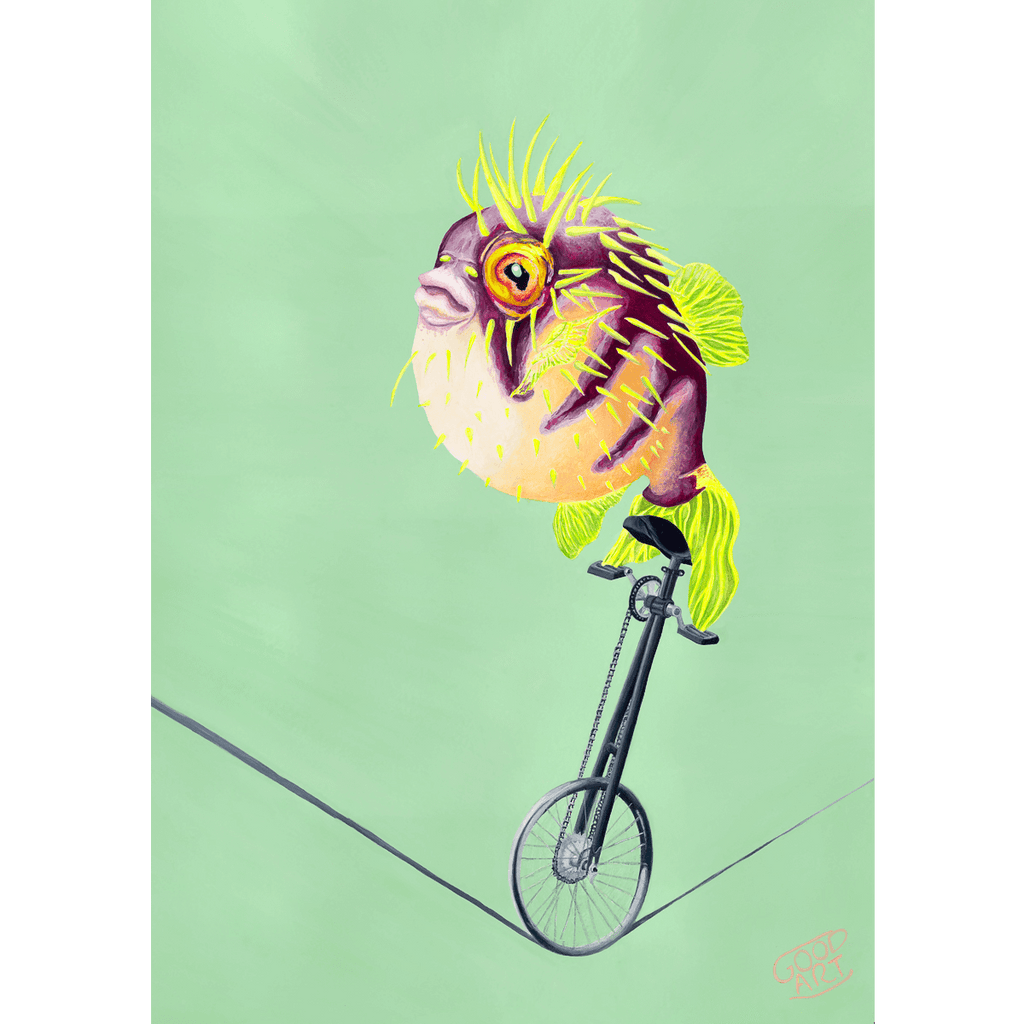 A painting of a fugu riding a unicycle on a tightrope with a predominately green background. A circus themed artwork art by artist Jaelle Pedroli.