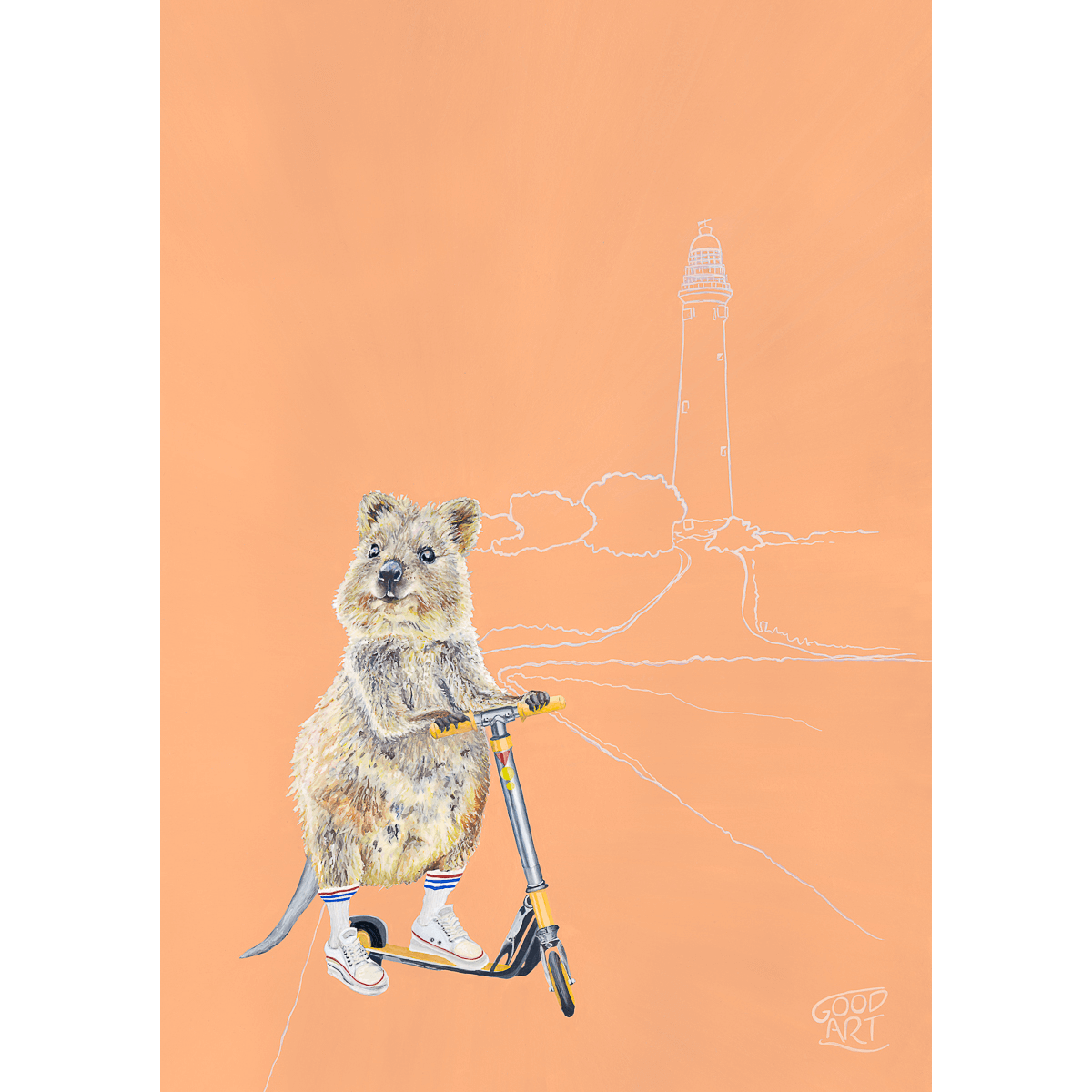 Rottnest Island Quokka kids print painted by artist Jaelle Pedroli. The Quokka is riding a scooter. Apricot coloured background.