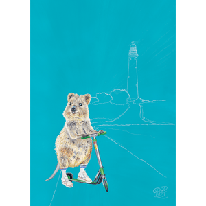 A painting of a Western Australian Rottnest Quokka. The quokka is riding a scooter. An aqua background colour. Wall art for boys room by Good Art.