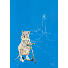 An artwork of a Western Australian Rottnest Quokka riding a scooter with lighthouse in the background. Predominantly blue background. Australiana inspired kids bedroom.