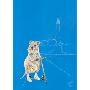Wall Art for boys created by Good Art. A Western Australian Rottnest Quokka riding a scooter with lighthouse in the background. Predominantly blue background. Australiana inspired kids bedroom.