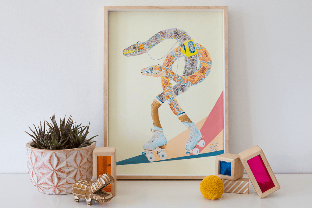 Two Western Australian Carpet Pythons roller skating, whilst listening to a walkman. In a retro themed original artwork. Styled in a kids bedroom.