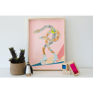 Wall Art of snakes roller skating, whilst listening to a walkman. In a retro themed Art print, styled in a kids bedroom. Dusty Pink background.