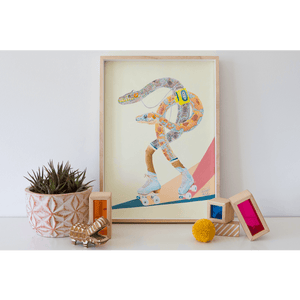 A painting of Western Australian Carpet Pythons roller skating, whilst listening to a walkman. Retro themed Art print, styled in a kids bedroom. Mellow Yellow background.