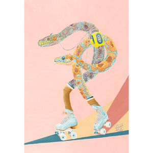 Two snakes roller skating, whilst listening to a walkman. In a retro styled colourful Art print. Dusty Pink background.