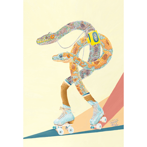 An art print of two Western Australian Carpet Pythons roller skating, whilst listening to a walkman. In a retro themed original artwork.