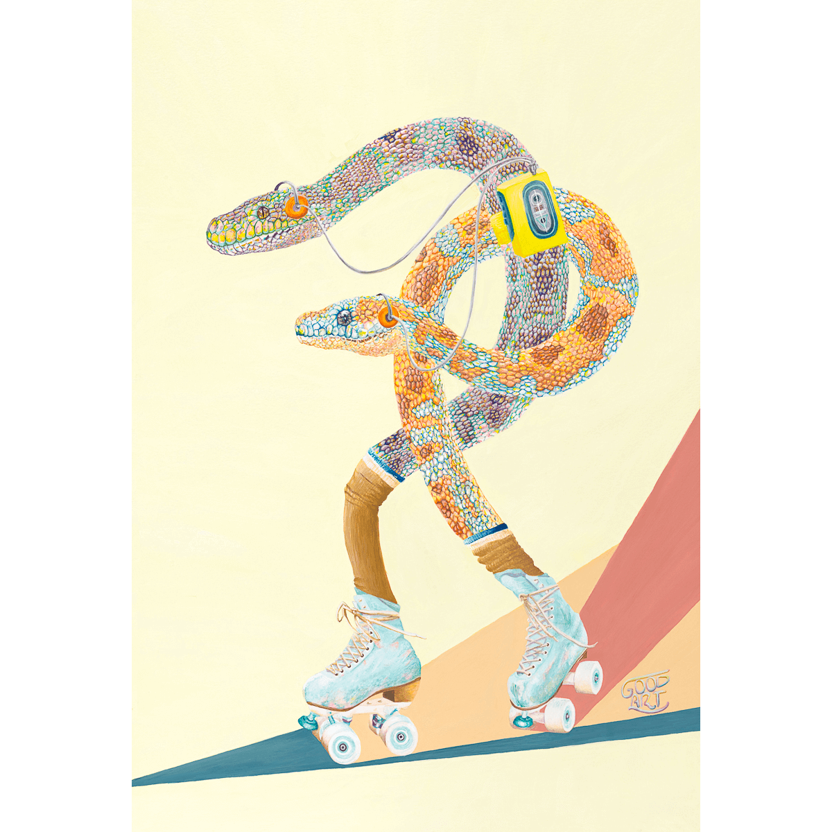 An artwork of Western Australian Carpet Pythons roller skating, whilst listening to a walkman. In a retro styled Art print. Mellow yellow background.
