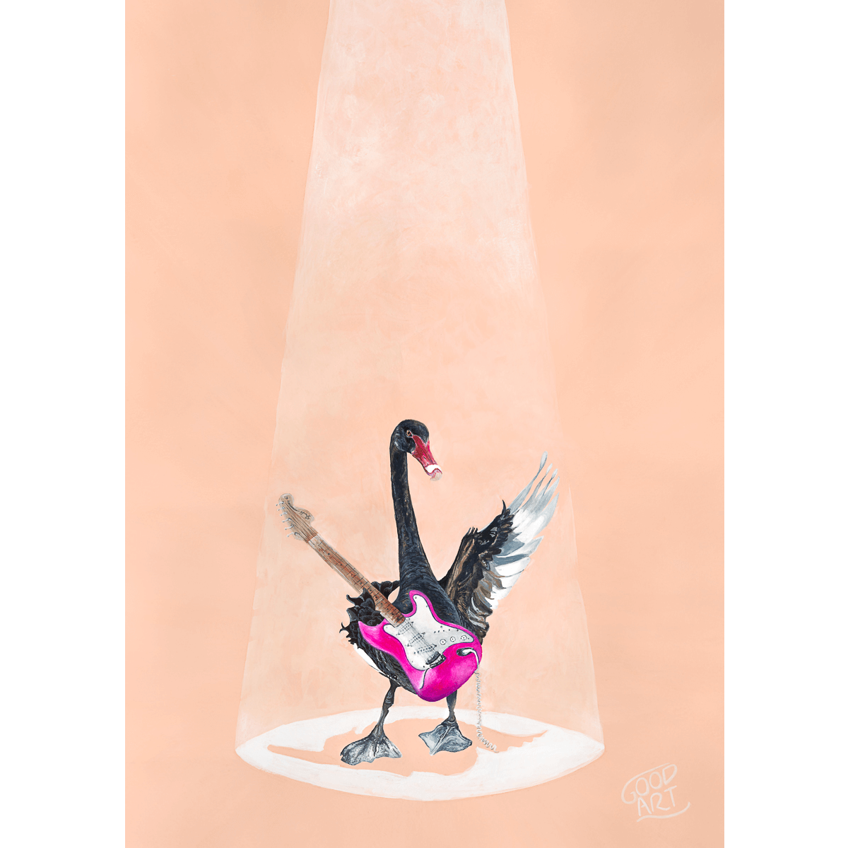 An artwork of a black swan playing a pink electric guitar on blush coloured background. Art prints for boys or girls bedroom. Created by Good Art Australia.