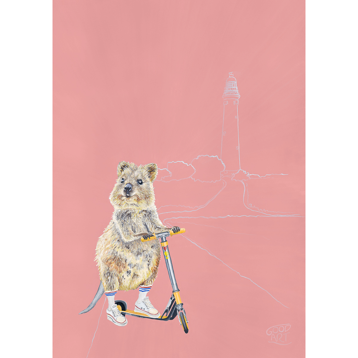 Wall art for a girls room of a cute Quokka riding a scooter. Painted by artist Jaelle Pedroli of Good Art Australia. The background colour is predominately blush.