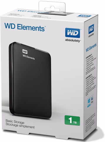 Disco Duro Externo WD Elements, negro, 1 TB