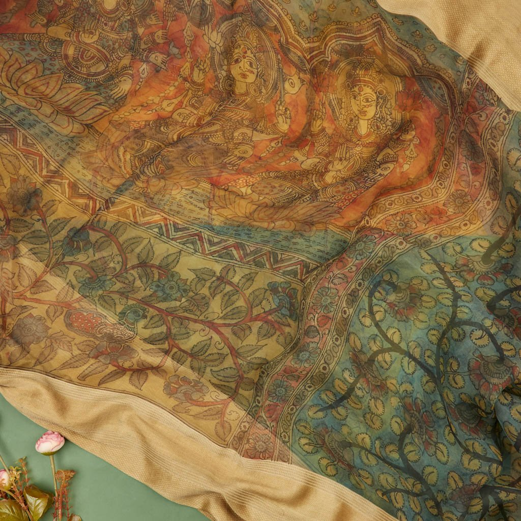 Buy Multicolor Organza Kalamkari Saree